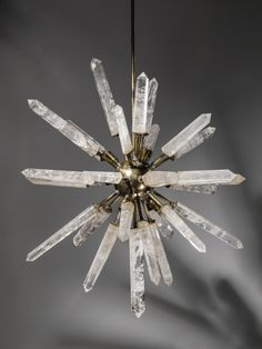 rock crystal and bronze 'starburst' chandelier