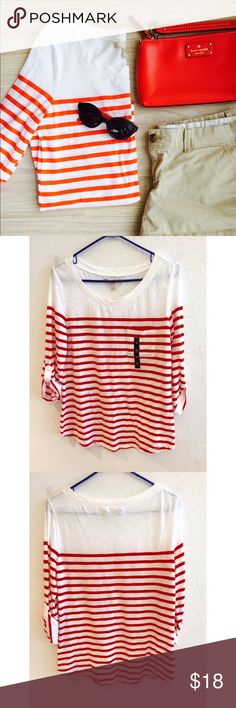 HPBanana Republic Striped Boater Tee Host Pick for Fashion Favorites Party (7/25) Banana Republic Red Striped Boater Tee. Size M. Sleeves roll up and cinch with button. One front pocket. Super cute and light weight fabric--perfect for summer! Brand new with tags. NWT. Banana Republic Tops Tees - Long Sleeve