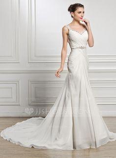 [US$ 169.99] Trumpet/Mermaid Sweetheart Chapel Train Chiffon Wedding Dress With Ruffle Beading Sequins