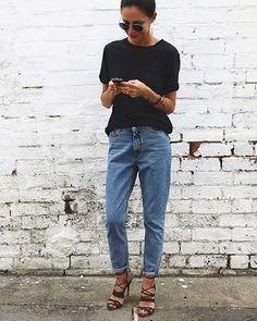 Mom jeans and high heels - we like! Denim Shirt Black Jeans, Jeans And 5cd9e6b47f20