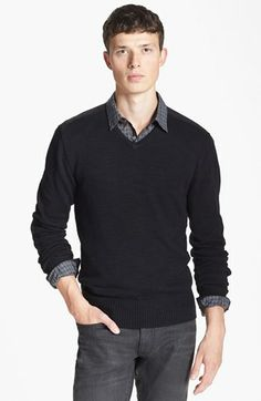 John Varvatos Star USA V-Neck Sweater available at #Nordstrom,  I like the vest and collared shirt combo