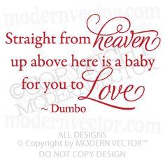 Disney Dumbo Quote Vinyl Wall Decal Nursery HEAVEN BABY