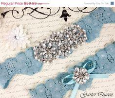 15 OFF Bridal garter set SOMETHING BLUE Wedding by GarterQueen, $50.99