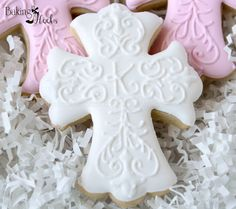 Decorated Cross Cookies, First Communion Cookies, Christening Cookies, Communion… Baby Cookies, Baby Shower Cookies, Iced Cookies, Easter Cookies, Royal Icing Cookies, Cupcake Cookies, Sugar Cookies, Cookie Favors, Flower Cookies