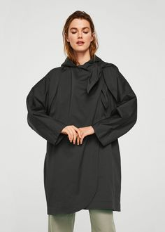 Mango Tied Oversize Cape - Women   Charcoal One Size New Wardrobe, Summer  Wardrobe, 1c32ca11c012