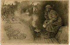 WW1 Christmas postcard by the talented artist John Beadle.