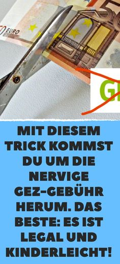 With this trick you get around the annoying GEZ fee. Das Beste: Es ist l… With this trick you get around the annoying GEZ fee. The best: It is legal and easy! Color Meanings, Clothing Hacks, Hacks Diy, Baby Hacks, Money Saving Tips, Good To Know, The Best, Lifehacks, Budgeting