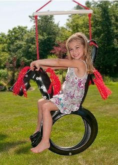 Our tire swing is made from recycled tires. It is fully assembled and ready to hang for plenty of wholesome tire swing fun.  The kids or grandkids will love it!