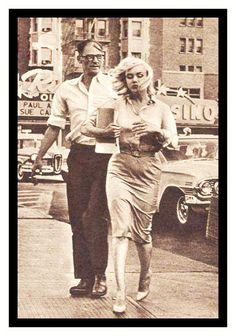 Arthur Miller and Marilyn Monroe, 1960. Heading for a divorce, not literally but you can tell it's coming around the bend just by their body language.