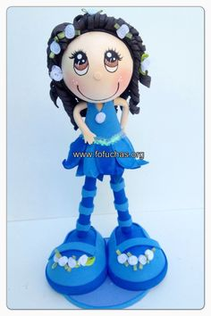 Blue Flower Fairy Fofucha. Lovely, beautiful handmade doll. Made using foam sheets. She is 12 inches tall can be perfect gift. Room decor, birthday centerpiece or caketopper. To purchase visit fofuchas.org or like us on facebook.com/fofuchashandmadedolls #fairy #flowers #fofuchas