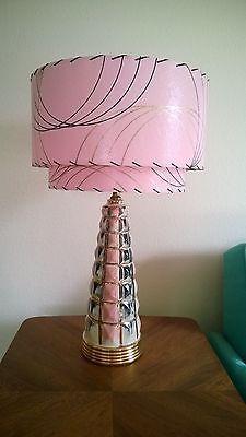 Mid Century Vintage Style 2 Tier Fiberglass Lamp Shade Modern Atomic Retro Pink*