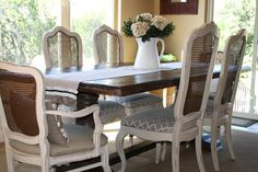 DIY Annie Sloan French Cane Chairs and reupholster project