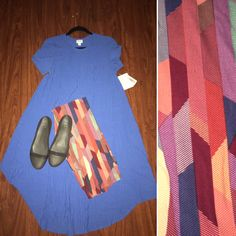LuLaRoe solid Carly with printed leggings