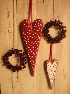 Red and white polka dot heart ornaments.