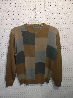 Oscar Dela Renta LARGE Brown Cotton Crewneck Pullover Sweater  #OscardelaRenta #Crewneck