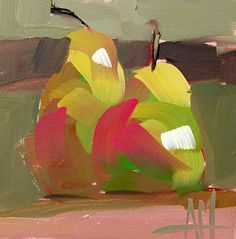 Two Pears no. 23 original still life oil painting by Angela Moulton 5 x 5 inch on panel mounted on birch plywood support ready to hang
