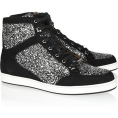 Jimmy Choo Tokyo glitter-finished suede sneakers ($200) ❤ liked on Polyvore featuring shoes, sneakers, sapatos, tenis, zapatos, silver, glitter shoes, black trainers, lace up shoes and star shoes