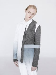 Deconstructed tailoring with integrated knit; innovative pattern cutting // Youjia Jin S/S 2015