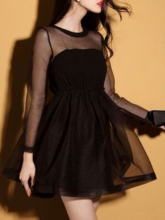 Black Semi-sheer Long Sleeve Skater Dress | Choies