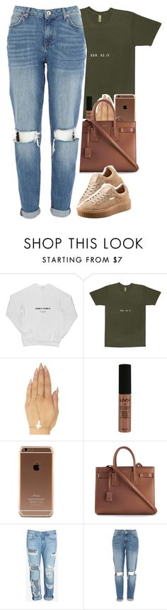 """""""my sets are crap man """" by daisym0nste ❤ liked on Polyvore featuring Wet Seal, NYX, Yves Saint Laurent, rag & bone/JEAN, River Island and Puma"""