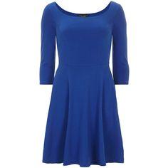 Cobalt 1/2 sleeve bardot dress (£18) ❤ liked on Polyvore featuring dresses, blue dress, sleeve dress and blue sleeve dress