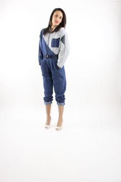 c1d4c64544c Vintage 80s Denim Jumpsuit Jumper Overalls Pants Jeans Spring Fashion 1980s  Dark Blue White Striped