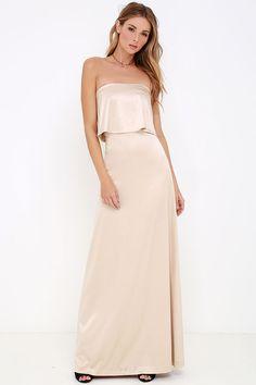 Ever So Lovely Beige Satin Maxi Dress at Lulus.com!