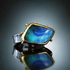 Boulder Opal Ring. Fabricated Sterling Silver & 18k. www.amybuettner.com
