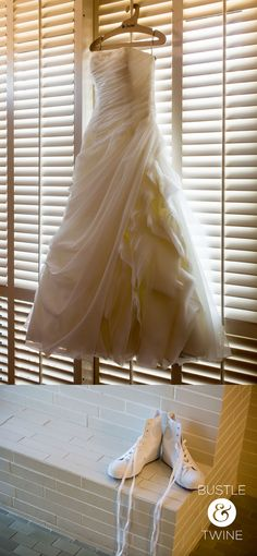 Ball gown wedding dress with hightop sneakers {Photo taken by Bustle & Twine}