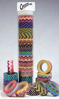 Creative Hobbies® Washi Masking Tape Collection, 15mm W x10 Yards Roll, Storage Tube Set of 13 Chevron Pattern Bright Color Rolls * Learn more by visiting the image link.