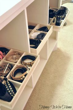 "Organized ""Boutique"" Closet // Honey We're Home, cubicle storage in the island Closet Office, Wardrobe Closet, Master Closet, Closet Space, Walk In Closet, Wardrobe Organisation, Closet Organization, Organizing, Jewelry Organization"