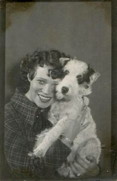 Vintage woman dog