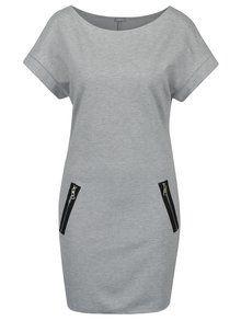 Světle šedé žíhané šaty se zipy ZOOT-800
