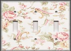 Metal-Light-Switch-Plate-Cover-Floral-Victorian-Pink-Roses-Home-Decor-Flowers