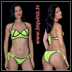 Biquíni IT GIRL 3D Yellow Flúor com bojo Ref.12317 Tamanhos P,M e G.