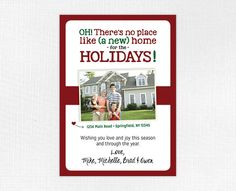 Share the announcement of your new home/address and send your holiday card at the same time! Save time and stamps with this cute, funny combination New Address/Happy Holidays card! Announcement size is 5 x 7, fitting into an A7-size envelope. You will receive a high-resolution PDF and JPEG of the finalized invitation to be printed at your local printer or copy center. NOTE that this listing is for a digital file only, and does not include printing. Please be sure to send along: 1. family…