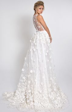 Lurelly white and sheer back panel flower and swarovski crystals appliqué organza gown