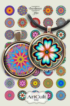 COLOR SPARKS  Digital Collage Sheet 1 inch circle by ArtCult, $4.60