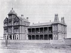 Homoeopathic Hospital (later Prince Henry's Hospital) in An elaborate Victorian structure made of variegated brick with extensive verandahs, parapeted gables, pinnacles, iron cresting and storeys separated by decorative banding. Demolished in Melbourne Victoria, Victoria Australia, Melbourne Apartment, Old Hospital, Victorian Photos, Make Way, St Kilda, Largest Countries, Luxor Egypt