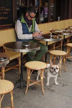 Man at Cafe in Paris with Dog #itsadogslife #thegoodlife