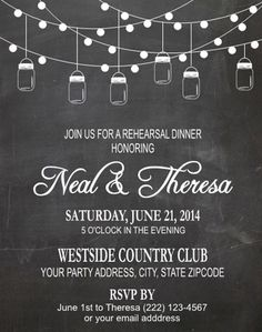 Rehearsal Dinner Invitation - Mason Jar String Lights