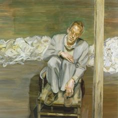 """thunderstruck9: """"Lucian Freud (British, 1922-2011), Red Haired Man on a Chair, 1962-63. Oil on canvas, 91.5 x 91.5 cm """""""