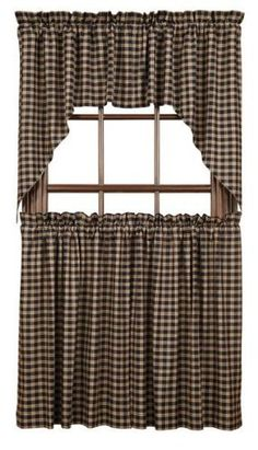 """Bingham Star Plaid Tier set of 2 L36xW36"""" by Victorian Heart Co., Inc.. $31.95. Lined with premium 40""""s sheeting poplin.. As pictured (lower half of window). 100% cotton. Plaid Tier set of 2 L36xW36"""". Coordinating quilts, bedding, window treatments, and kitchen collection also available.. Bingham Star quilted items feature a block pattern with 5 point stars and strip blocks in charcoal, garnet and sand. Woven coverlet is an overscaled plaid from the quilt program, made in..."""