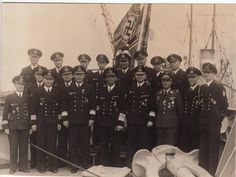 "Officers of the battleship ""Tirpitz"": Admiral Ciliax (front middle), Commander Topp (front, 5th from left) and ship supply officer Kurt Voigt (middle, 2nd from left) ."