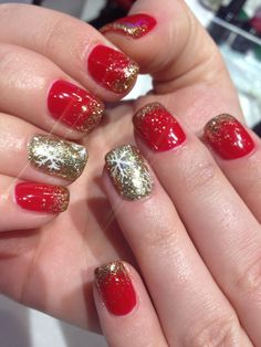 Nails !!! Christmas nails , holiday nails , no chip manicure , gel color with gold glitter water fall and snow flake design