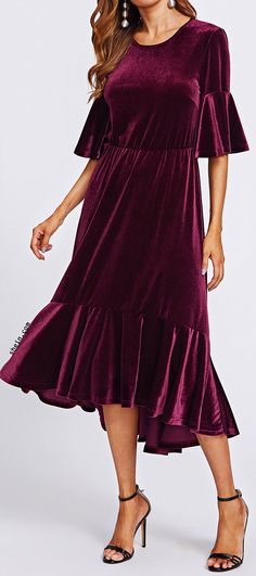 Trumpet Sleeve Flounce Hem Velvet Dress Party Fashion, Fashion 2020, Modest Fashion, Fashion Dresses, Estilo Hippie, Hijab Fashion Inspiration, Velvet Fashion, Knee Length Dresses, Dress Skirt