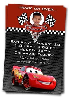 Cars Birthday Party Invitations Fresh Cars Invitations Printable Custom Birthday Party by Car Themed Parties, Cars Birthday Parties, 3rd Birthday, Birthday Celebration, Birthday Cards, Disney Cars Party, Disney Cars Birthday, Car Party, Lightning Mcqueen Party