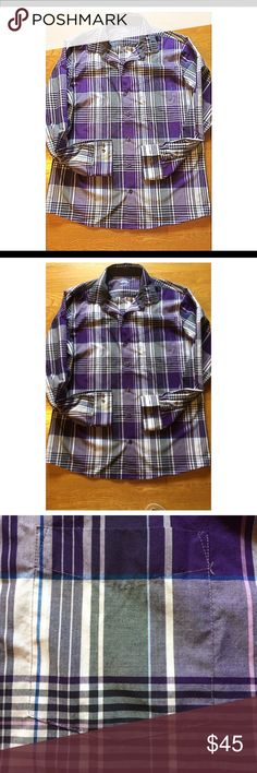 Plaid Collared Wrinkle Free Dress Shirt This is a slim fit Van Heusen dress shirt that was too small for my brother. Brand new without tags and recently purchased. Very nice shirt and is true to the photo. Very comfortable fabric with a beautiful vibrant color. Good for an office or casual look ! Other shirts available. Bundle, receive a free gift and save !!! 🤗🔥🤓 Van Heusen Shirts Dress Shirts