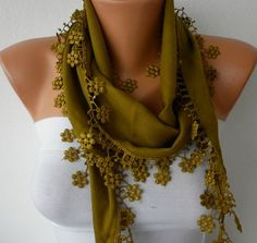Olive Green Scarf   Pashmina Scarf   Headband Necklace by fatwoman, $13.50
