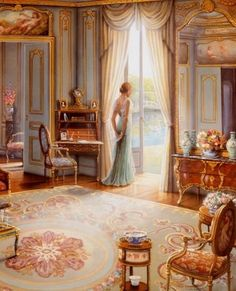 I have this painting with beautiful glitter on it. My Mom had given it to my as a gift. Victorian Lady, Green Elegant Dress / Donna epoca Vittoriana, vestito elegante verde - Art by John O'brien Victorian Decor, Victorian Women, Victorian Parlor, Victorian Bedroom, Victorian Rugs, Victorian Furniture, Victorian House, Victorian Fashion, Victorian Paintings